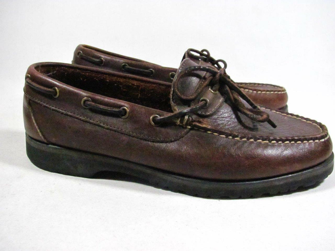 Vintage Brown Cole Haan Camp Moc Men size 7 M Brown Vintage Leather made in USA af2444