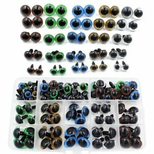 10//12mm Colorful Safety Eyes with Washers for Doll Animal Crafts Stuffed Animals,Puppet,Doll Making 264pcs 6-12mm Black Plastic Safety Eyes Teddy Bear