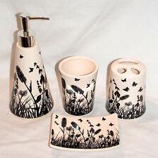 4pc Butterfly Bathroom Set White & Black Soap Dispenser & Dish Toothbrush Holder