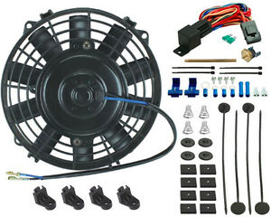 """DUAL 6/"""" INCH ELECTRIC RADIATOR COOLING FANS PUSH-IN PROBE THERMOSTAT 2-PACK FAN"""