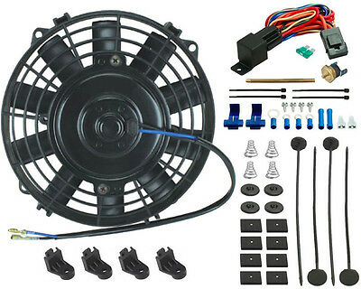 American Volt 16 Inch Electric Cooling Fan 12 Volt Push-in Radiator Fin Probe Thermostat Kit