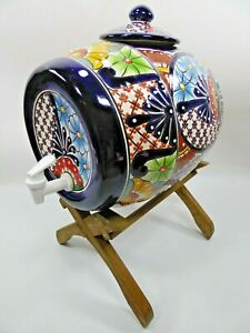 TALAVERA WATER CROCK Mexican pottery kitchen counter dispenser 4 Gal