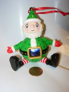 CHRISTMAS-TREE-ORNAMENT-SANTA-CLAUS-HOLIDAY-DECOR-RED-WHITE-GREEN-TOY-PLASTIC-3-034