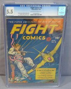 FIGHT COMICS #8 (Golden Age War, George Tuska) CGC 5.5 FN- Fiction House 1940
