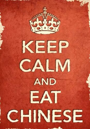 ACR24 Vintage Style Red Keep Calm Eat Chinese Food Funny Poster Print A2//A3//A4