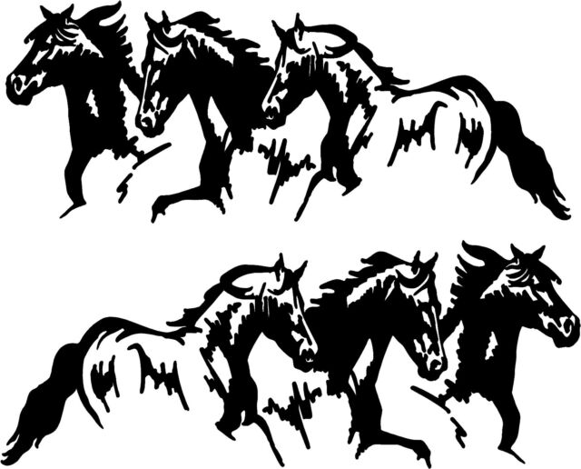 Running Horses Vinyl Decal Stickers Horse Trailer Truck 10x20 Set