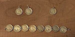 Buffalo-Indian-Head-Nickel-Coin-Jewelry-Set-Bracelet-Earrings-amp-Pendant