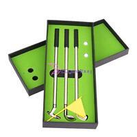 3pcs Mini Golf Club Ballpoint Pen + 2 Golf Balls Flag Putter Kit Set Gift on sale