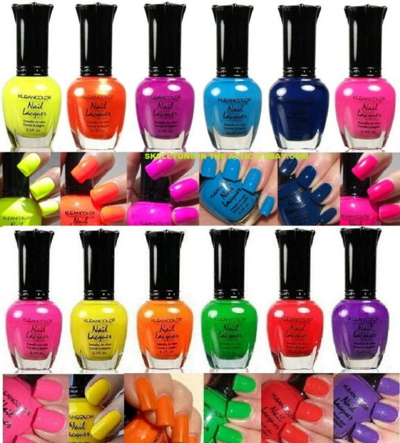 New Kleancolor Nail Polish Neon Collection Set of 12 Lacquer Full Size Art OPI