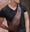 Men/'s Leather Sling Bags Chest Shoulder Bag Crossbody Satchel Backpack New Style