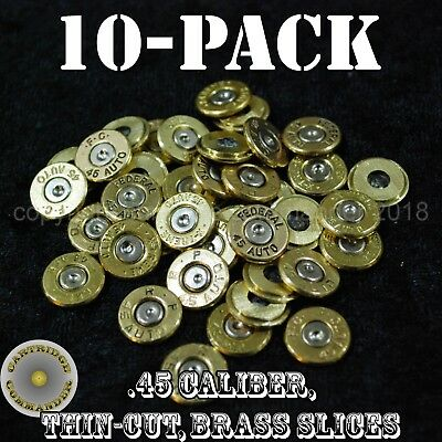 Eerlijk 45 Caliber Acp Diy Bullet Jewelry Slices - Mix Mfg (10 Pack) Brass W/primer