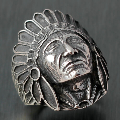 Vintage Antique Men/'s Large Apache Chef Indien Tête en acier inoxydable biker ring