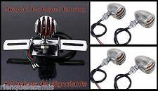 Support de plaque + 2 paires de clignotants Métal Grille Chrome Bullet Style