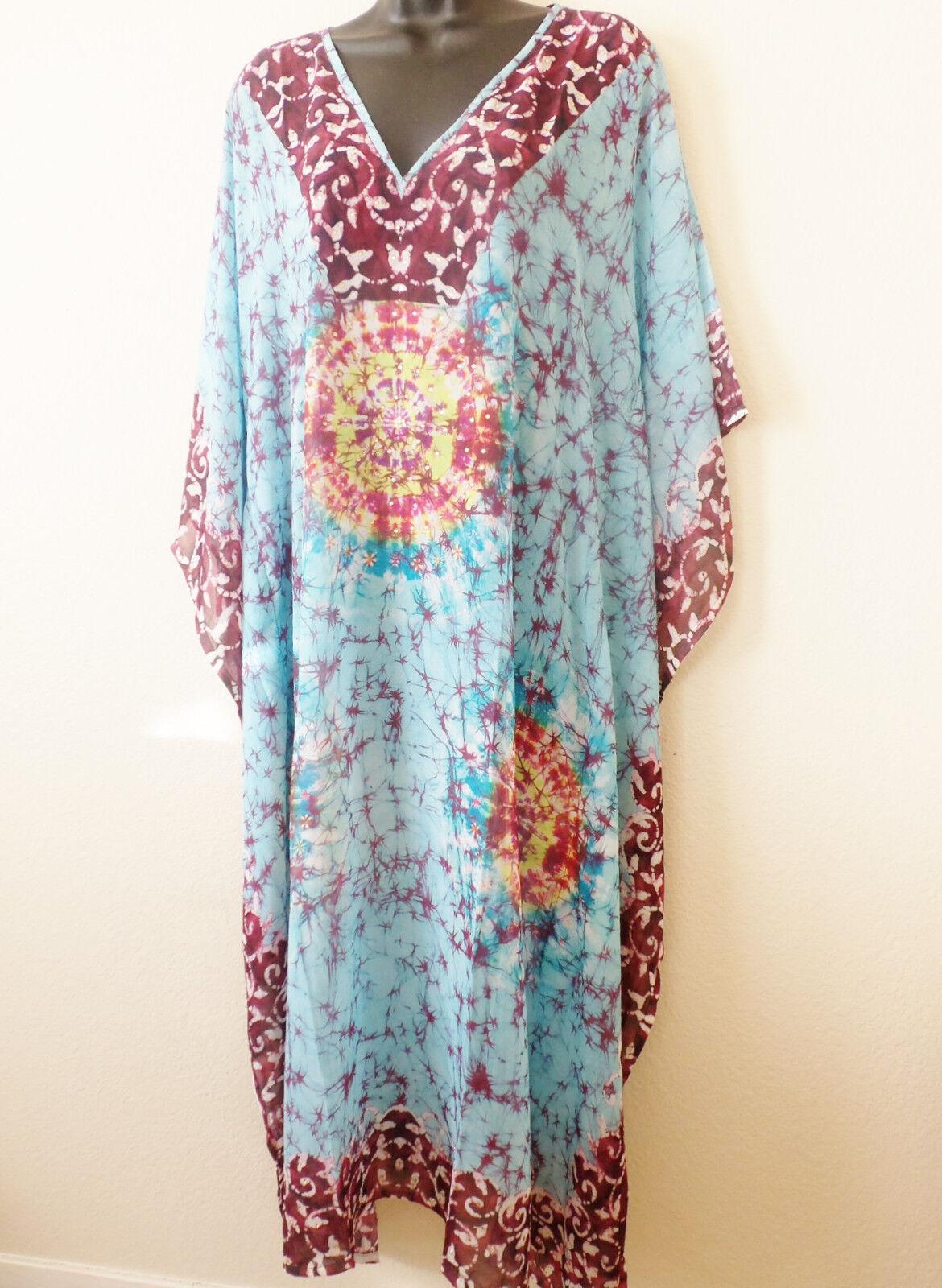 Embellished Kaftan dress  tunic sheer light material tie dye print  free size
