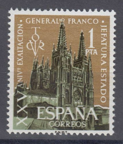 ESPAÑA (1961) NUEVO SIN FIJASELLOS MNH SPAIN -EDIFIL 1373 FRANCO CATEDRAL BURGOS
