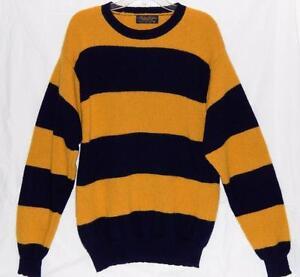 36d8048dbfe BROOKS BROTHERS Men s Yellow Striped Shetland Wool Crewneck Sweater ...