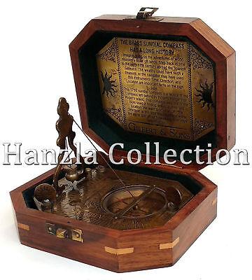 Vintage Brass Sundial Antique Gilbert /& Sons London Directional Pendulum Compass