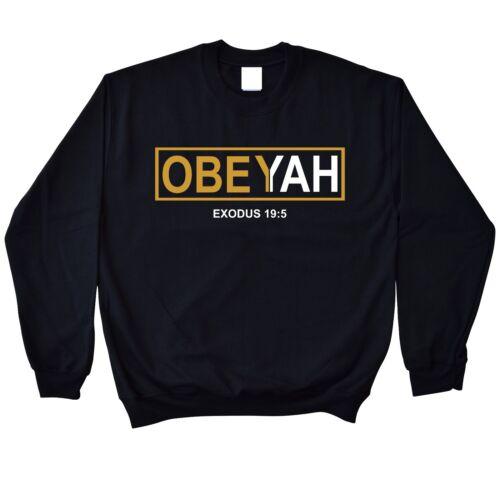 Obey Yah Black Crewneck Sweatshirt Yahweh Yahshua Yeshua Torah Messianic Israel