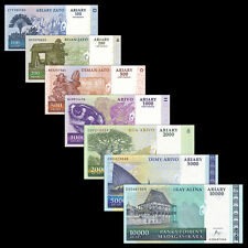 Madagascar 7 PCS Banknotes Set (100-1000+2000+5000+10000 Ariary), P-86-92, UNC