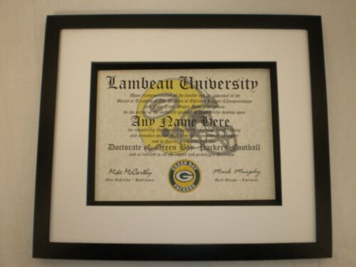 GREEN BAY PACKERS NFL FAN  ~ CERTIFICATE ~ DIPLOMA ~MAN CAVE ~ OFFICE GREAT GIFT