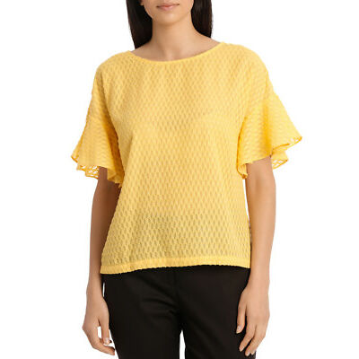 Basque Petites Flutter Sleeve Boxy Top Yellow