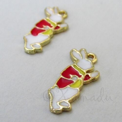 White Rabbit Alice In Wonderland 22mm Gold Plated Charms C1722-2 5 Or 10PCs