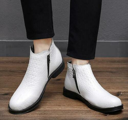 Mens Faux Leather Chelsea Dress Work Formal Ankle Biker Brogue Boots Shoes Size