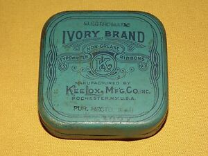 VINTAGE KEE LOX IVORY BRAND TYPEWRITER RIBBON TIN BOX