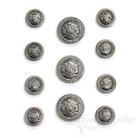 Sets Of Lightweight Antique Silver Crest Buttons For Suits