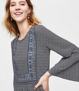NWT-Ann-Taylor-Loft-Embroidered-Stripe-Bell-Sleeve-Tee-Top-Medium