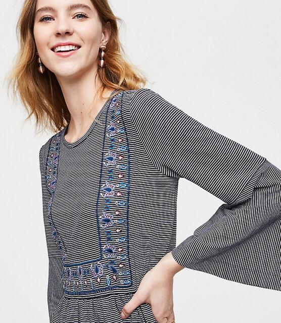 NWT Ann Taylor Loft Embroidered Stripe Bell-Sleeve Tee Top. Medium