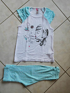 JOLI-PYJAMA-2-PIECES-PRINTEMPS-ETE-FILLE-T-8-ANS-ORCHESTRA-TBE