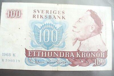 Ancien Billet - 100 Kronor SuÈde 1968 - Etat Tb+ !!!
