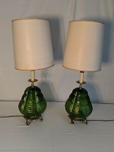 Vintage-Green-Lamps-Pair-Glass-And-Brass-Art-Deco-Retro-Lights
