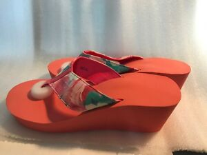 1e4487e227fc Image is loading Pretty-Floral-Wedge-Flip-Flops-Coral
