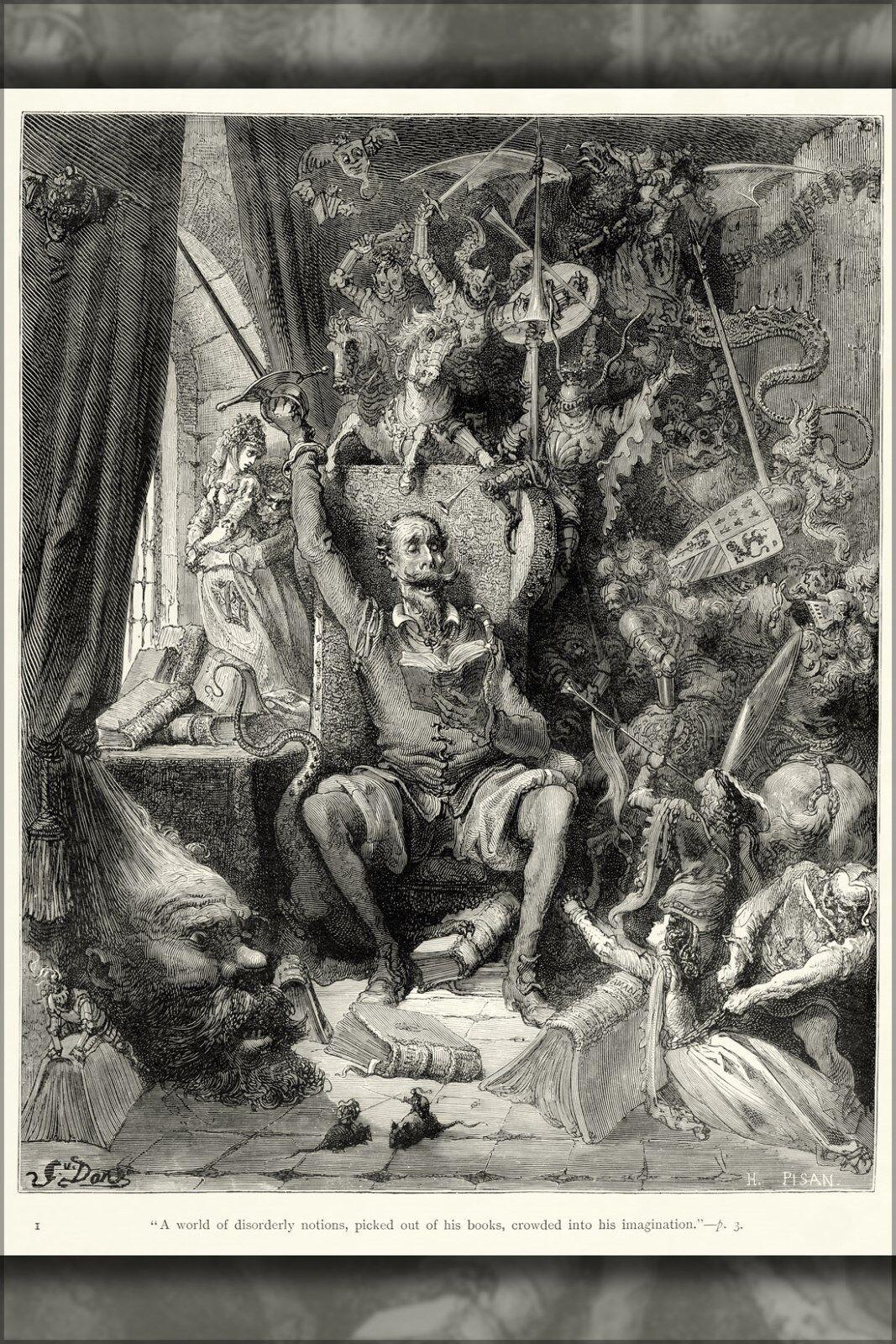 Poster, Many Größes; Plate I Of Gustave Dore Illustrations To Miguel De Cervantes