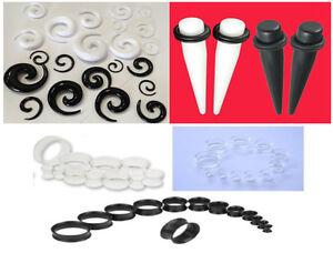 Acrilico-Orecchio-Piercing-Dilatatori-Conici-Spirali-stretcher-anello-Spina-Kit