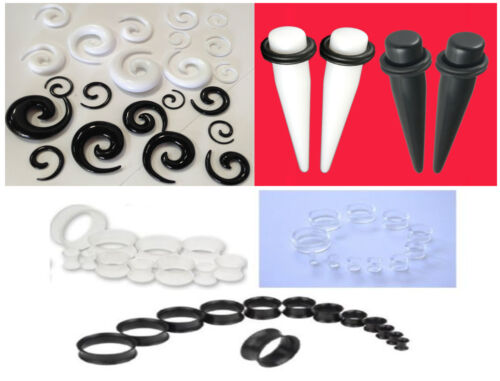 Acrylic Ear Flesh Tunnels Tapers Spirals Expanders Stretchers O-Ring Plug Kit