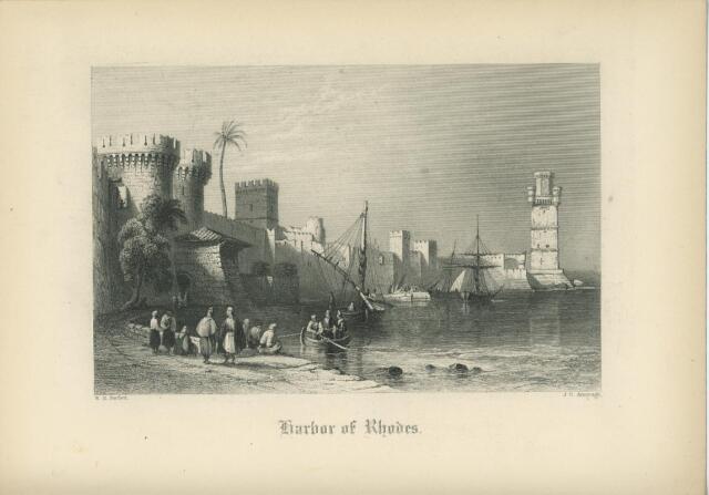 ANTIQUE HARBOR OF RHODES GREECE AEGEAN SEA DODECANESE ISLAND BOAT CASTLE PRINT