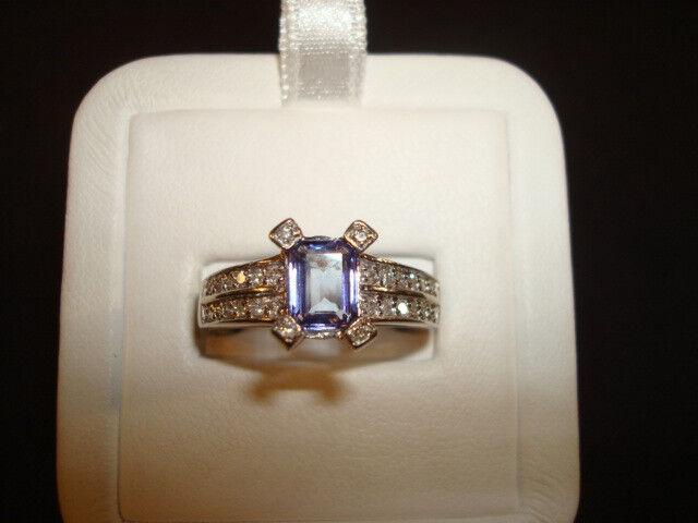 14K wg Tanzanite and Diamond Ring - 5.4 Grams - Sz. 8.5 - .75cttw. Approx ( MM4D