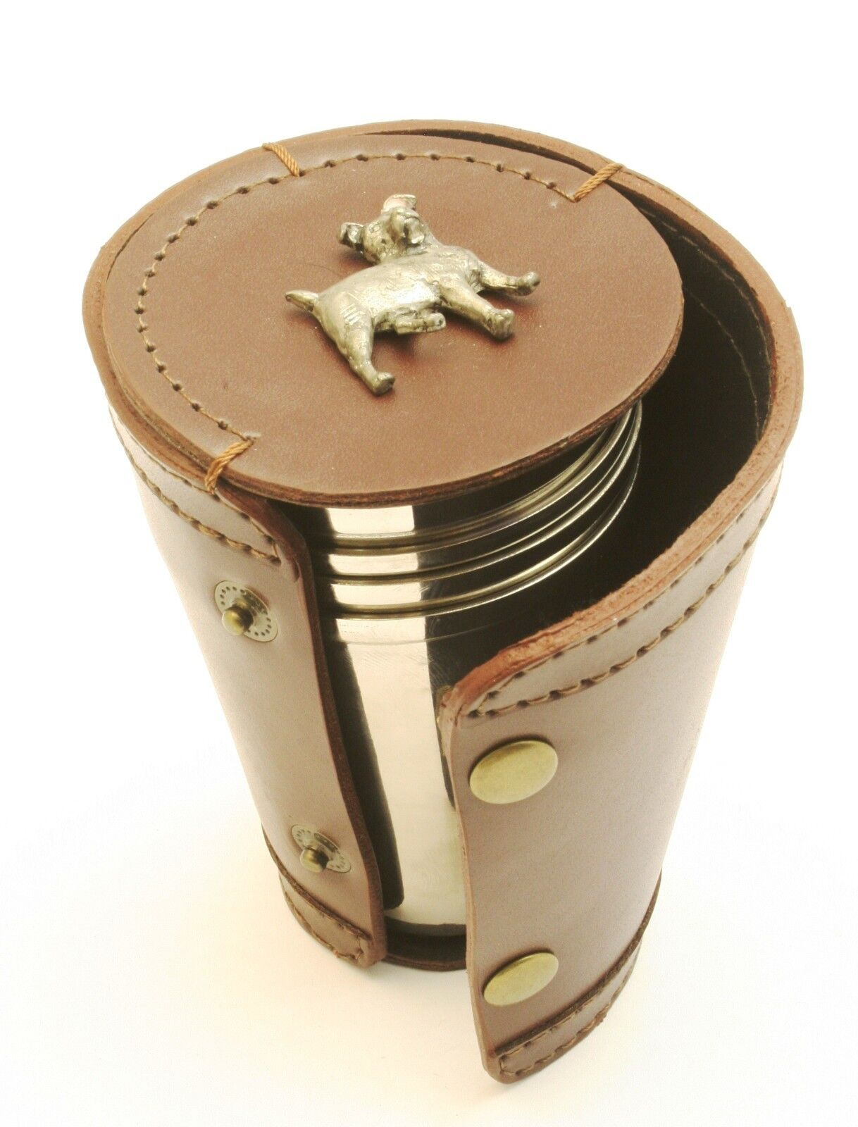 Jack Russel Dog Lovers 4 Stacking Stirrup Shot Cups Cups Cups in Leather Case NEW 4849f2