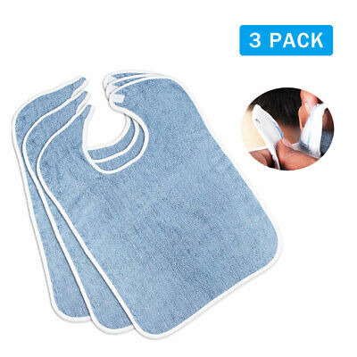 Utopia Towels Premium Quality Terry Adult Bibs 3-Pack Blue 18 x 30 Inches Made