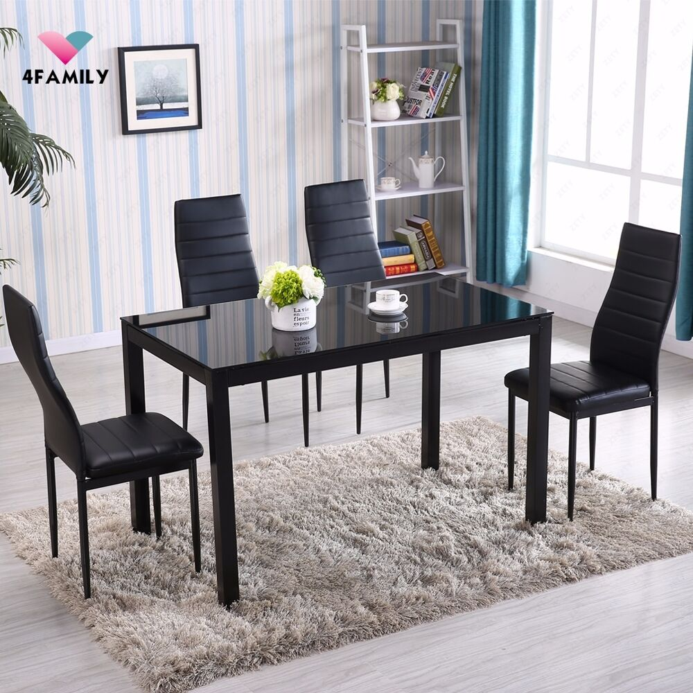 piece glass metal dining table set 4 chairs kitchen room breakfast