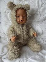 Cute Teddy Onesie For 17 Tiny Treasure & Baby Born Dolls - 17 Doll Clothes