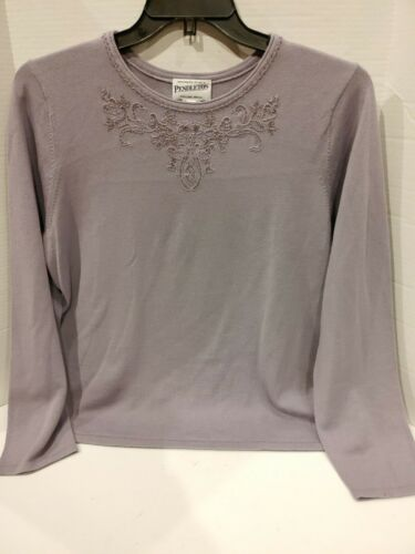 Pendleton Sweater Purple Floral Beads Embroidered