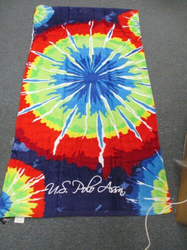 """POLO  Beach Towel,100/% Cotton 34/""""x 64/"""" NAVY BLUE TIE DYE BRAND NEW WITH TAGS !!"""