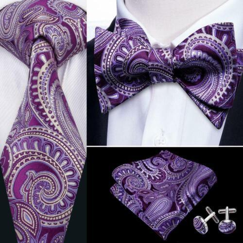 Men/'s Paisley Purple Tie Self Tie Bowtie Set 100/% Silk Wedding Party USA