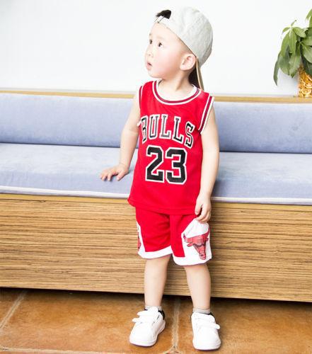 Kids Baby Boys Girls #23 Michael Jordan Bulls Basketball Jerseys Short Suits HOT