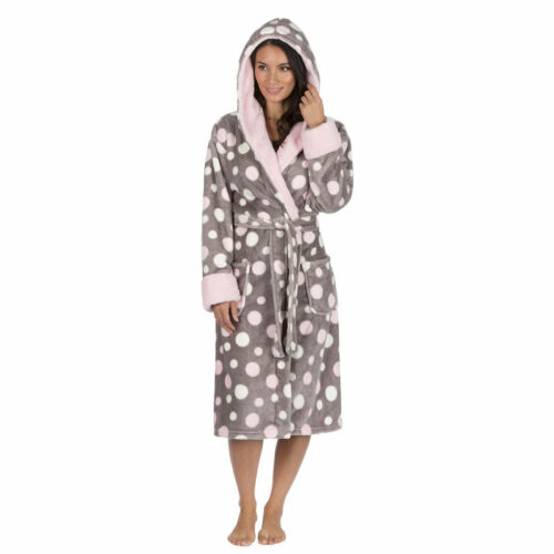 Ladies Super Soft HOODED Fleece Dressing Gown Robe Nightwear Hot Pink or Grey