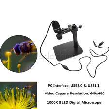 1000x Usb Microscope 2mp 8 Led Digital Endoscope 90x Magnifier Cameralift Stand